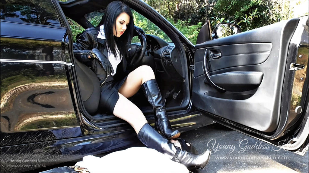 Goddess Kim's slave washes Her car (and boots)